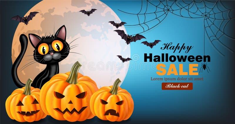 Cartão do Dia das Bruxas do vetor do gato preto e das abóboras Lua cheia no fundo Moldes do cartaz das vendas do feriado ilustração royalty free
