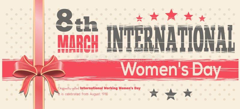 Cartão do dia das mulheres internacionais Comemore o poder das mulheres o 8 de março ilustração royalty free