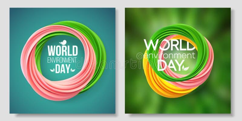 Cartão do dia de ambiente de mundo, bandeira no fundo verde Formulário abstrato do coral de vida 5 de junho Ecologia, bio, nature ilustração royalty free