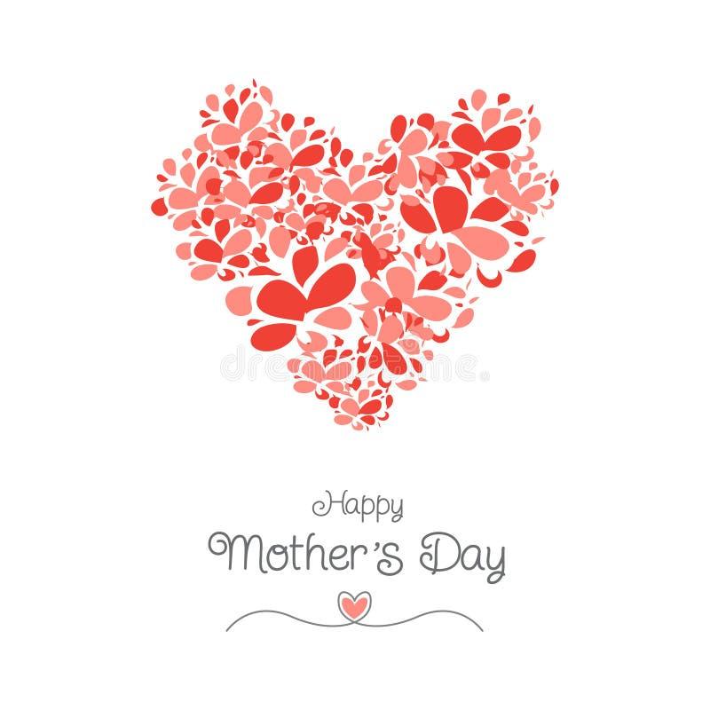 Cartão do dia de mãe com forma do coração da flor ilustração stock
