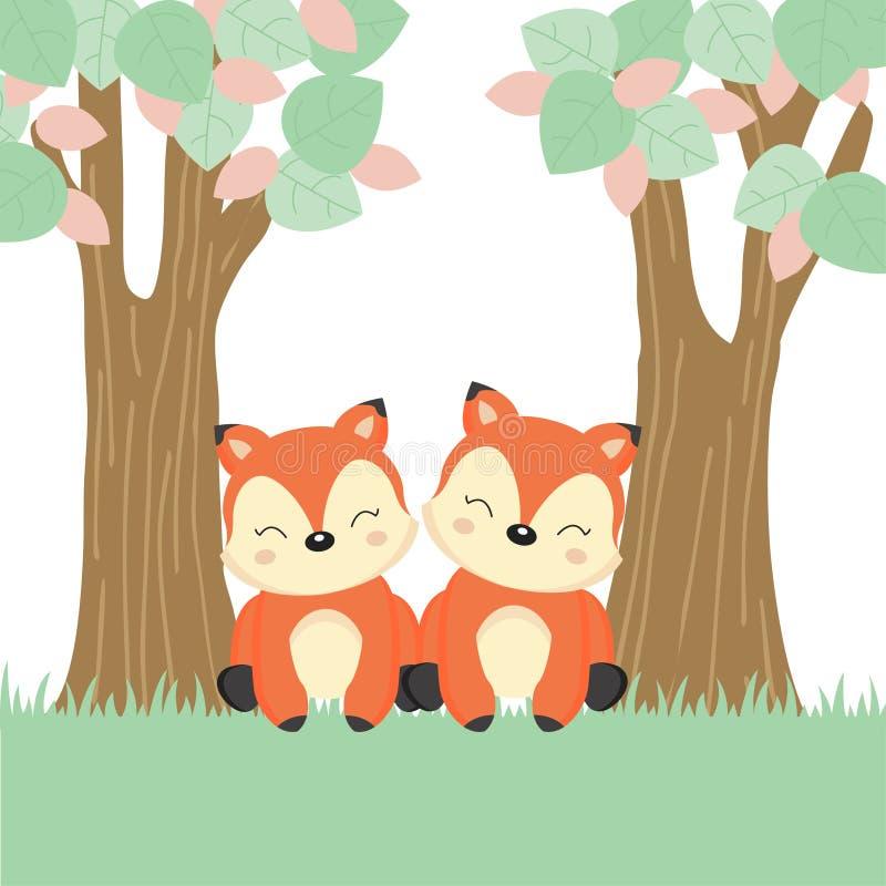 Cartão do dia de mãe com poucas raposa e mãe no log de madeira ilustração stock