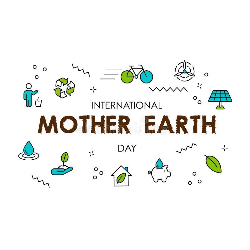 Cartão do dia de Mãe Terra da linha verde ícones do eco ilustração royalty free