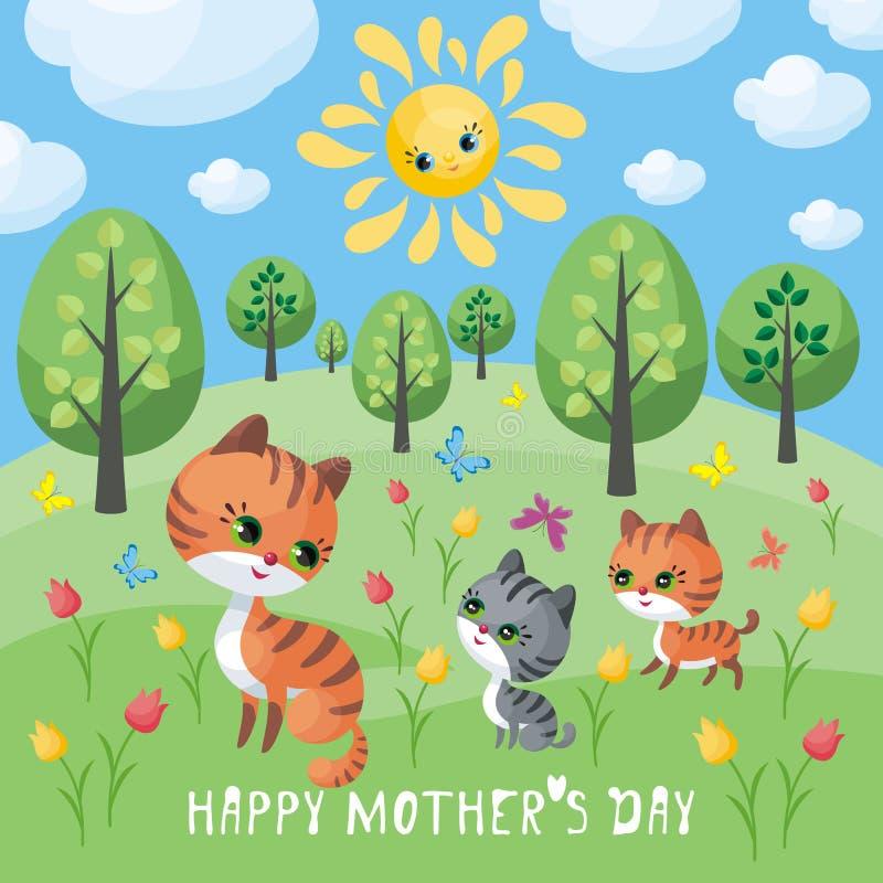 Cartão do dia de mães com gato ilustração stock