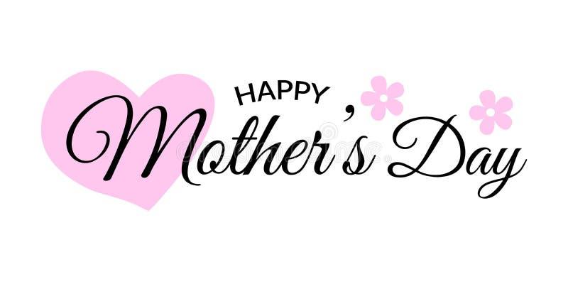 cartão do dia de mães Rotulando o projeto caligráfico no preto isolado em branco com coração e a flor cor-de-rosa ilustração stock