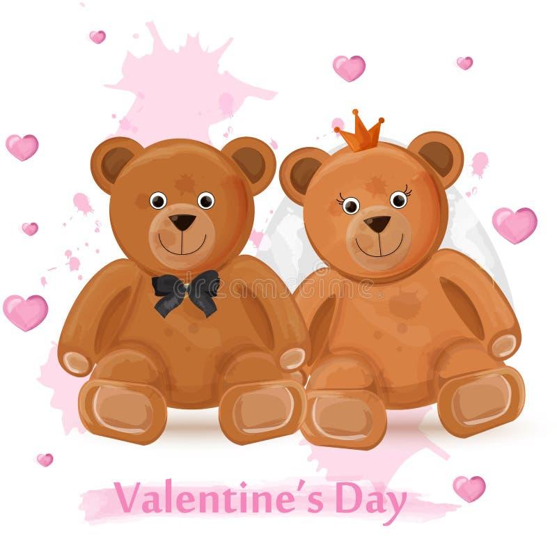Cartão do dia de são valentim com ilustrações da aquarela do vetor dos pares dos ursos de peluche ilustração royalty free