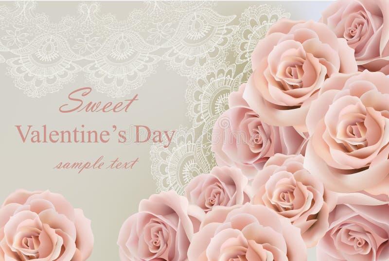 Cartão do dia de são valentim com rosas delicadas e vetor do laço ilustração do vetor