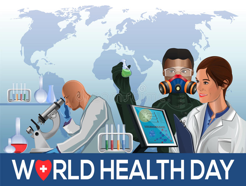 Cartão do dia de saúde de mundo ilustração royalty free