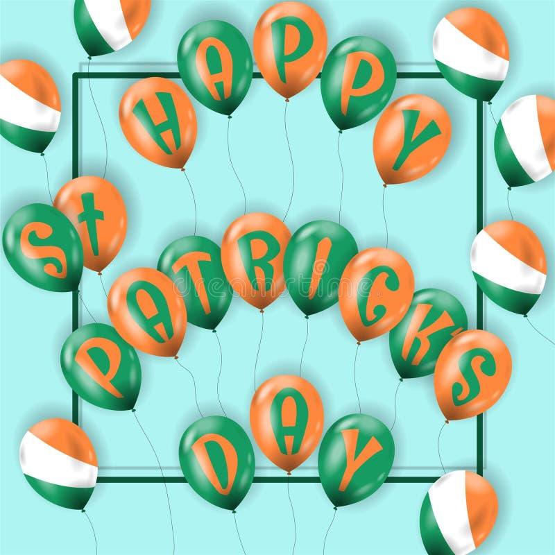 Cartão do dia de St Patrick feliz com balões de ar ilustração do vetor