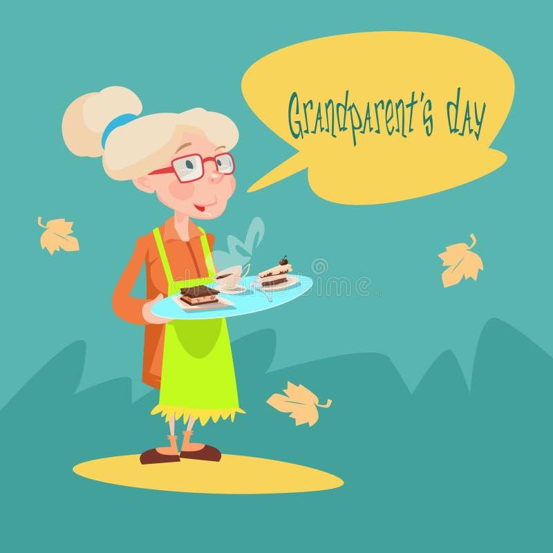 Cartão do dia de Tray With Sweets Happy Grandparents da posse da avó ilustração stock