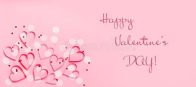 Cartão do dia de Valentim com corações e confetes cor-de-rosa puros bonitos ilustração do vetor