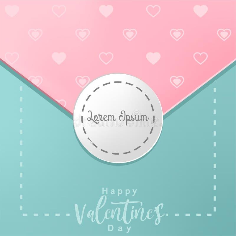 Cartão do dia de Valentim com corações e lugar para seu texto ilustração royalty free