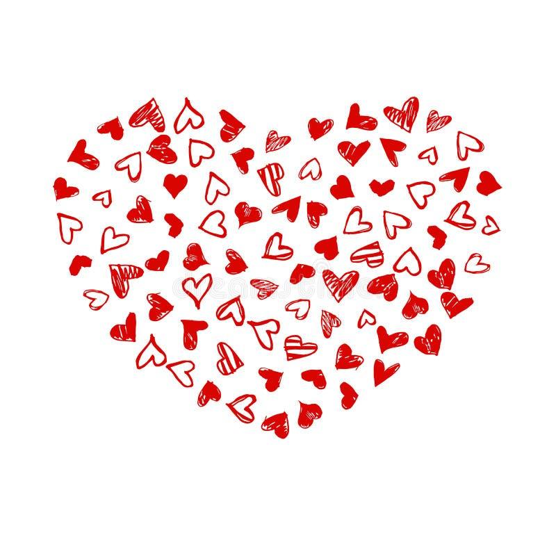 Cartão do dia de Valentim com corações tirados mão da garatuja O Grunge esboçou corações no fundo branco ilustração do vetor