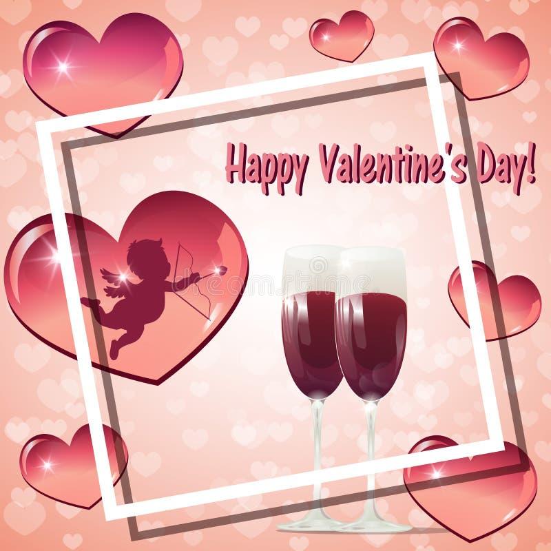 Cartão do dia de Valentim com dois vidros do vinho e do cupido ilustração stock