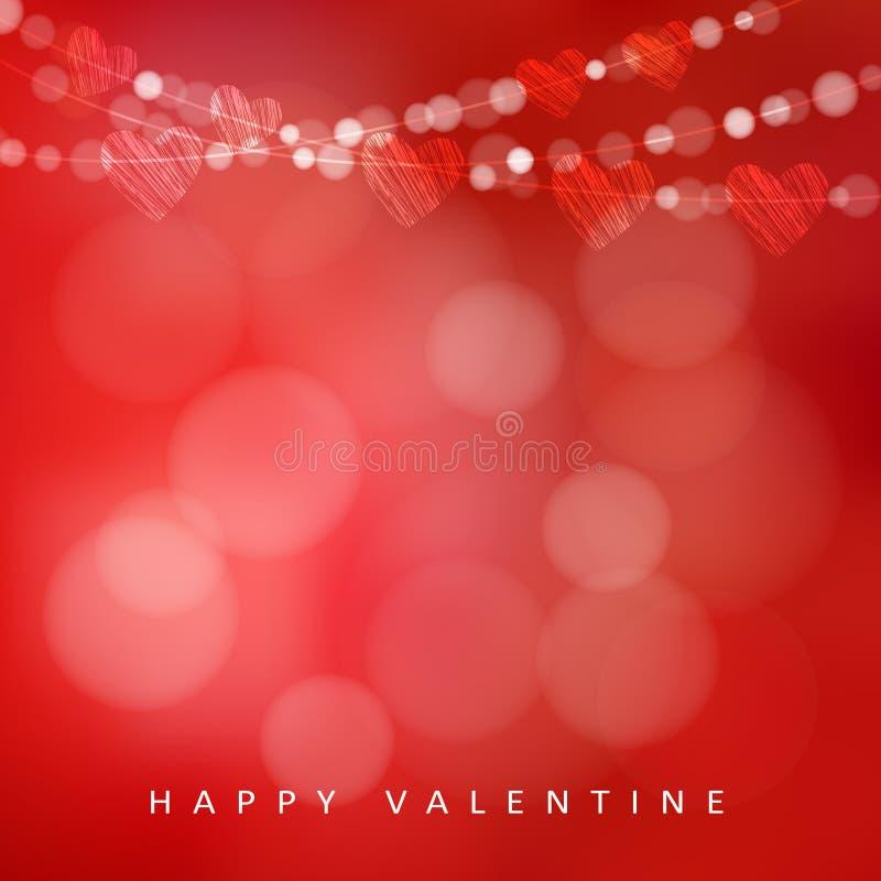 Cartão do dia de Valentim com a festão das luzes e dos corações, ilustração ilustração stock