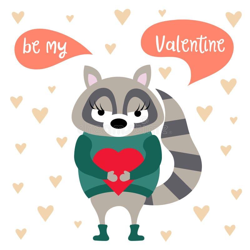 Cartão do dia de Valentim com guaxinim ilustração royalty free