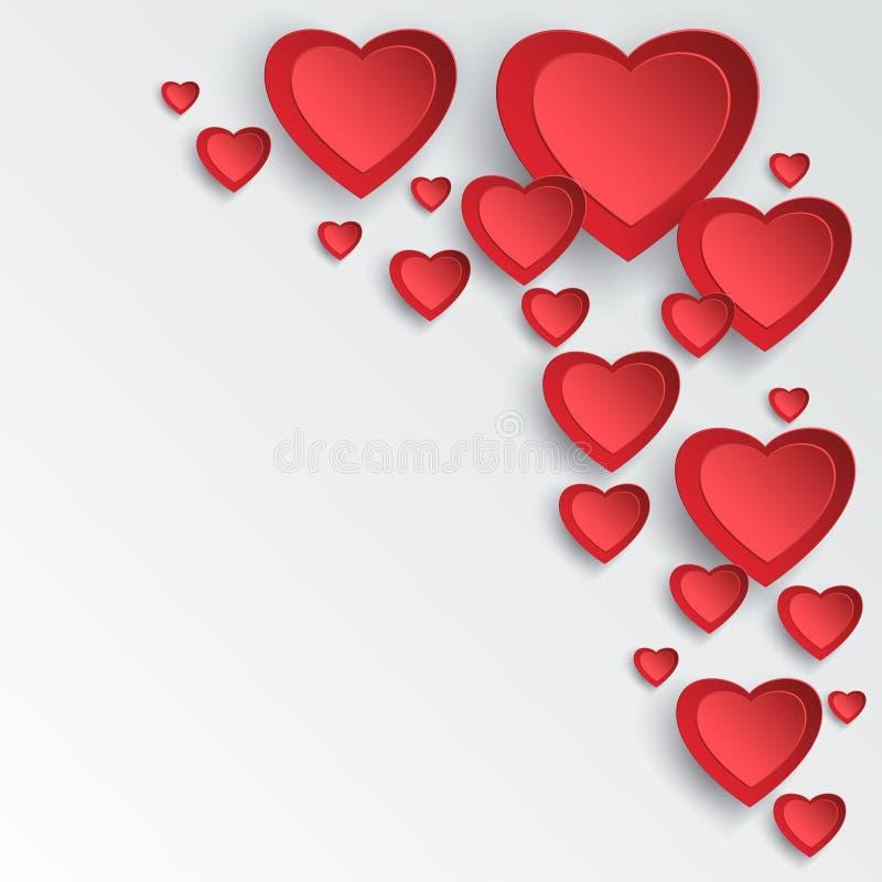 Cartão do dia de Valentim com os corações 3d que cortam o papel ilustração royalty free