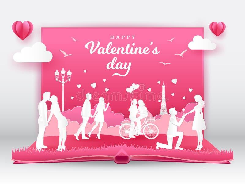 Cartão do dia de Valentim com pares românticos no amor ilustração do vetor
