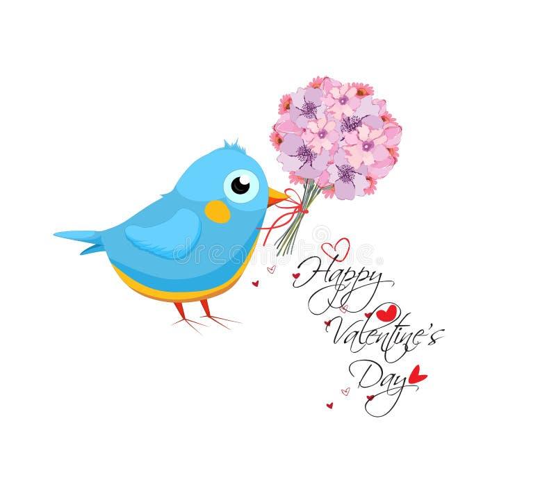 Cartão do dia de Valentim com ramalhete e pássaro da flor Rotulação tirada mão ilustração stock