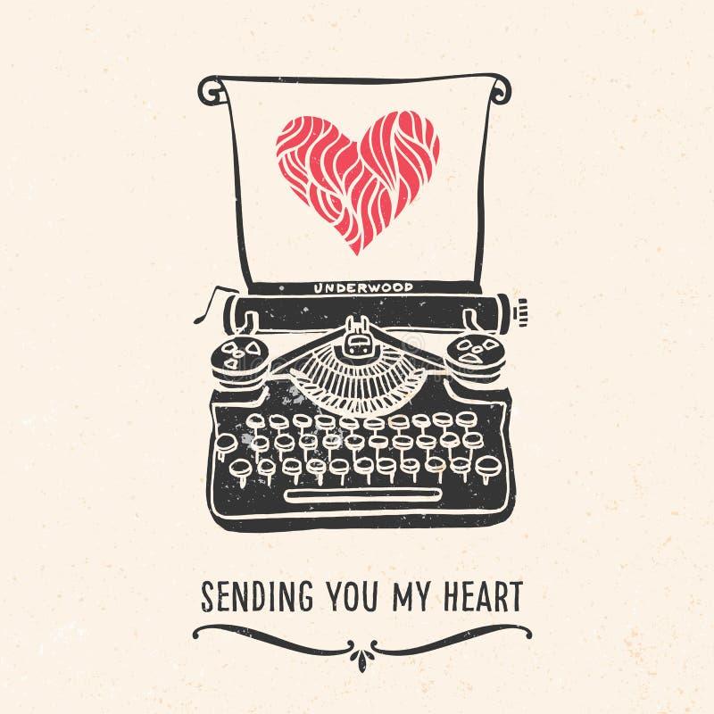 Cartão do dia de Valentim com rotulação, máquina de escrever, coração ilustração do vetor