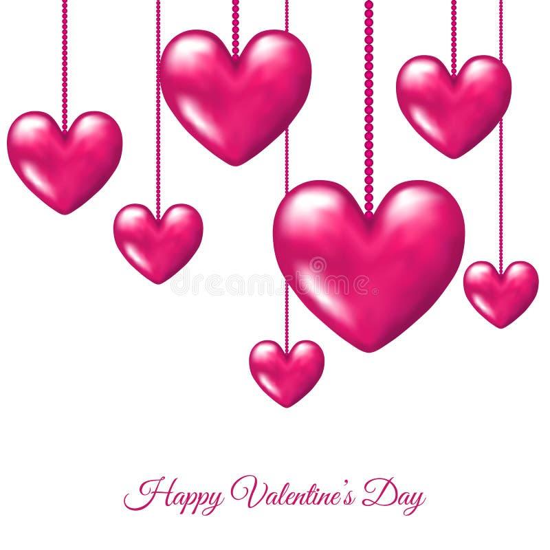 Cartão do dia de Valentim com suspensão de 3d realístico cor-de-rosa ilustração do vetor