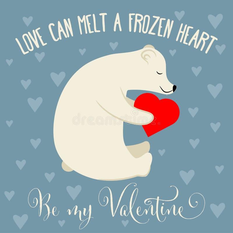Cartão do dia de Valentim com urso polar ilustração stock
