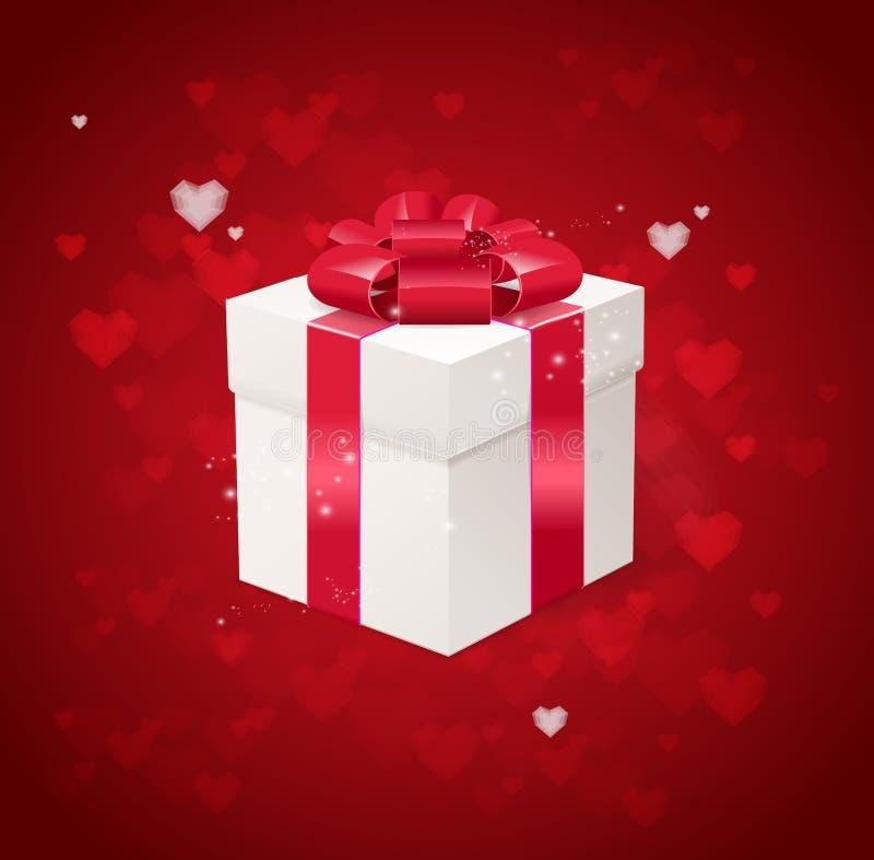 Cartão do dia de Valentim do coração e da caixa de presente ilustração do vetor