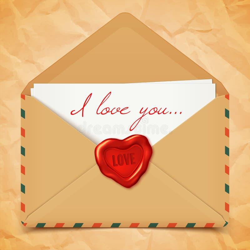 Cartão do dia de Valentim, envelope retro velho do vetor com selo da cera na forma do coração, ilustração da carta de amor ilustração stock