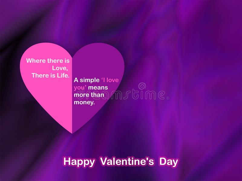 Cartão do dia de Valentim no fundo chiffon fotos de stock