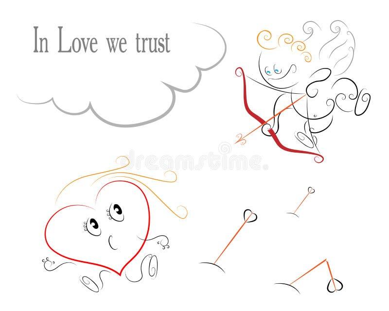 Cartão do dia de Valentim - o cupido dispara em um coração ilustração stock