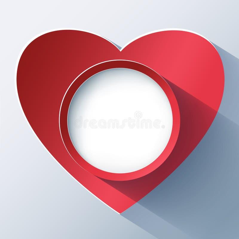 Cartão do dia de Valentim, quadro com coração 3d ilustração do vetor