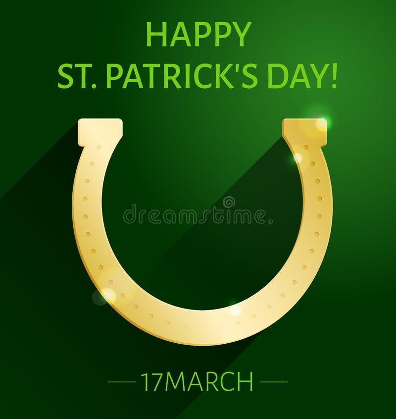 Cartão do dia do ` s de St Patrick com a ferradura do ouro na obscuridade - fundo verde ilustração royalty free