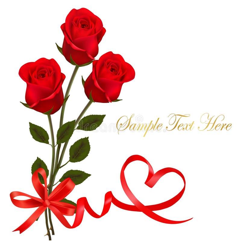 Cartão do dia do `s do Valentim. Rosas vermelhas e curva vermelha do presente ilustração stock