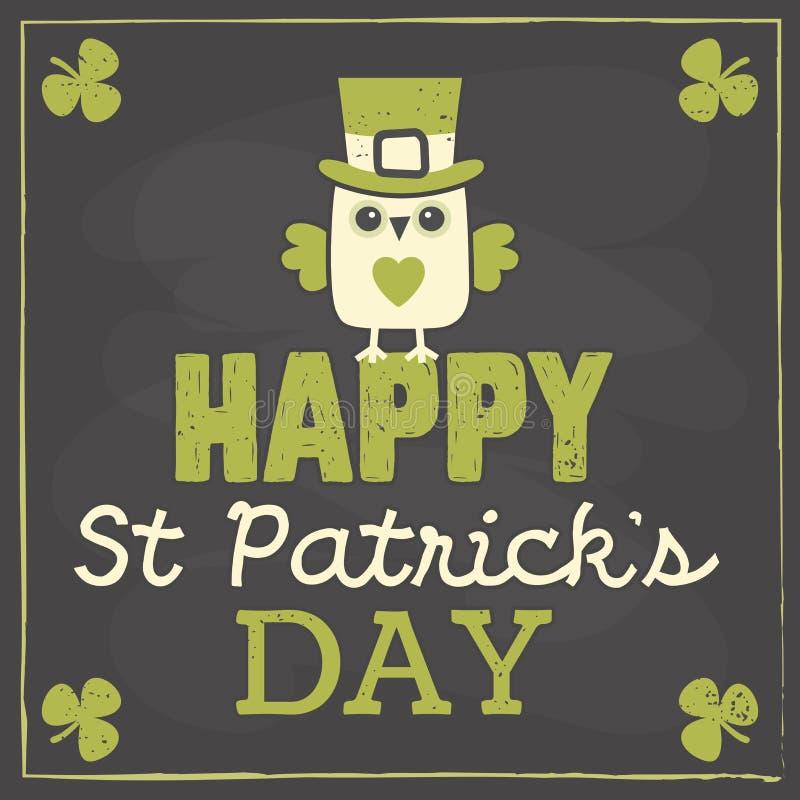 Cartão do dia do St Patricks com a coruja bonito no quadro ilustração do vetor
