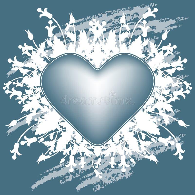 Cartão do dia do Valentim com coração das flores no grunge azul ilustração stock