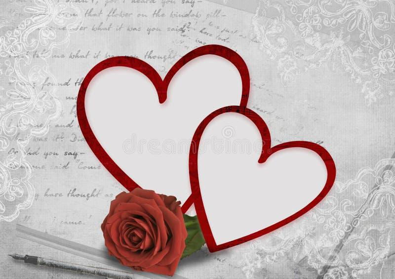 Cartão do dia do Valentim com rosas imagens de stock royalty free
