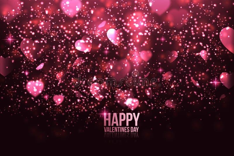 Cartão do dia do Valentim feliz com corações ilustração royalty free