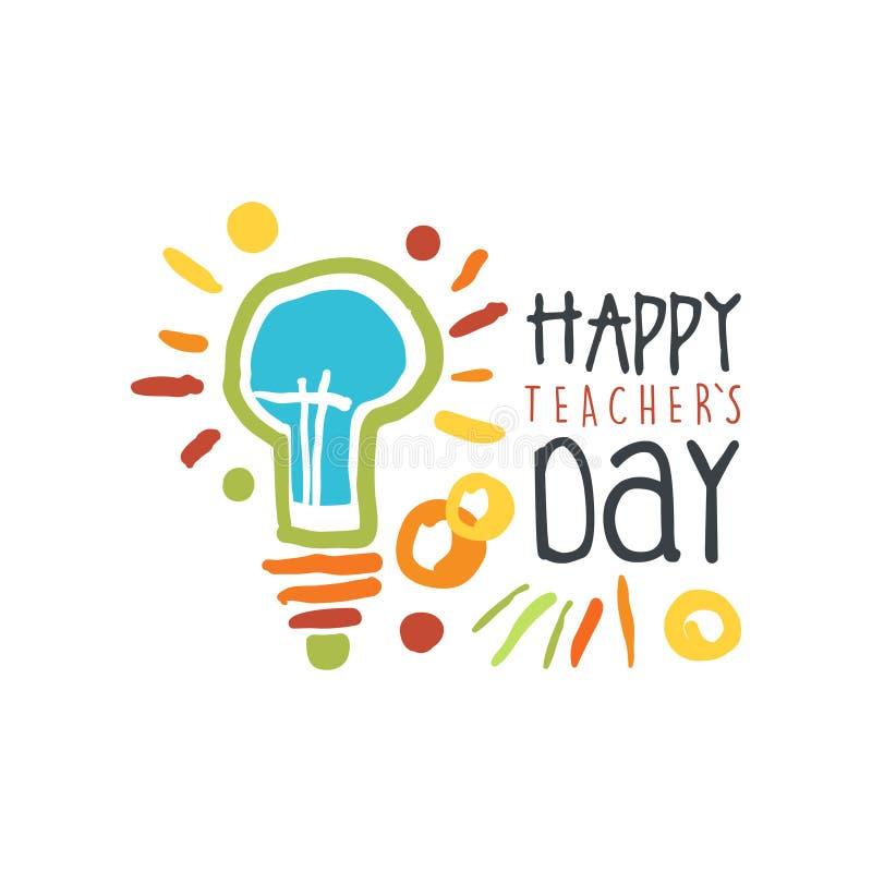Cartão do dia dos professores com lâmpada elétrica ilustração do vetor