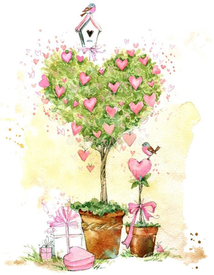 Cartão do dia dos Valentim Árvore de amor dos Valentim ilustração do vetor