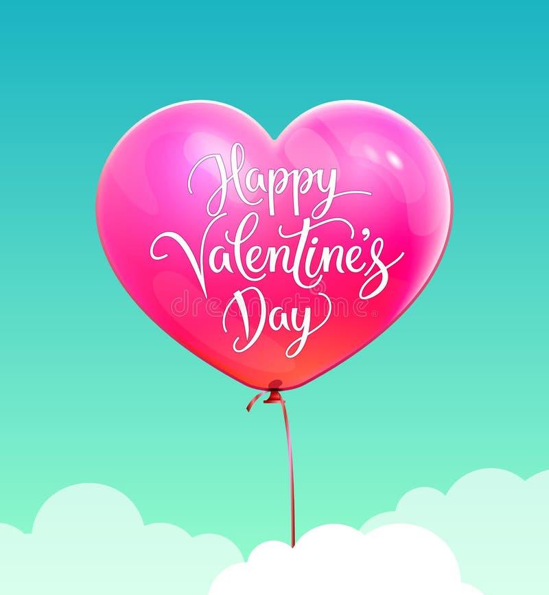 Cartão do dia dos Valentim Balão cor-de-rosa da forma do coração 3D ilustração royalty free