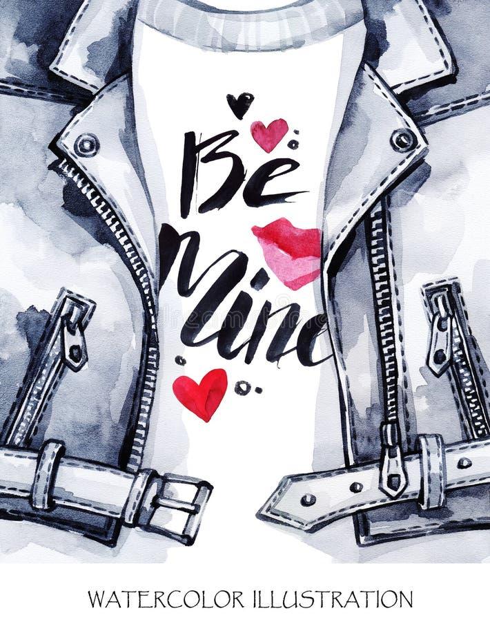 Cartão do dia dos Valentim Casaco de cabedal pintado à mão com palavras bonitas ilustração do vetor