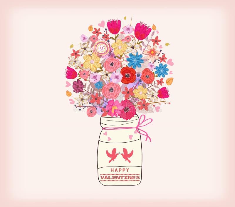 Cartão do dia dos Valentim Grupo da aquarela de flores de pintura em um vaso ilustração royalty free