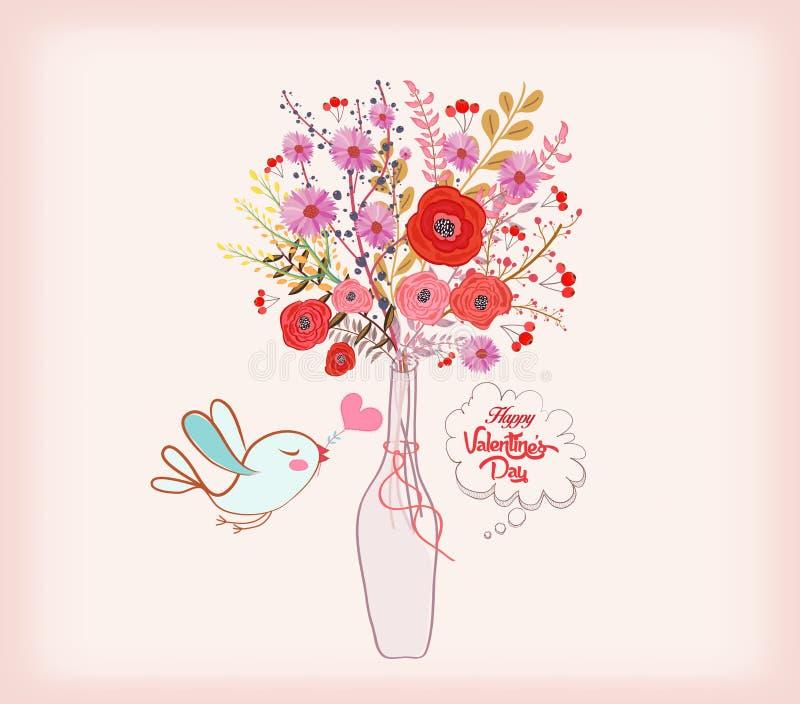 Cartão do dia dos Valentim O cartão bonito com aquarela floresce, garrafa com amor ilustração do vetor