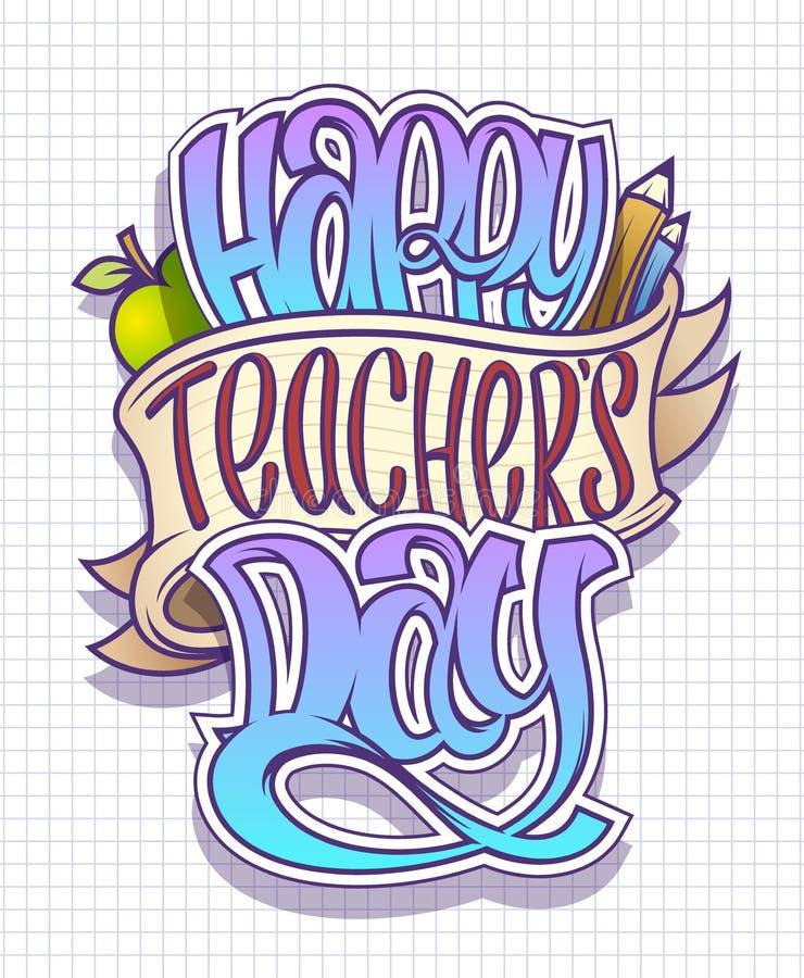 Cartão do dia do professor feliz, cartaz ou projeto do vetor da bandeira ilustração do vetor