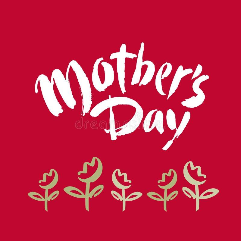 Cartão do dia do ` s da mãe Rotulação do feriado Ilustração da tinta Caligrafia moderna da escova Isolado no fundo vermelho ilustração do vetor