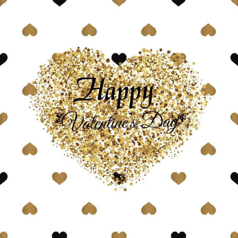 Cartão do dia do ` s do Valentim com sparkles e corações dourados Vetor ilustração stock