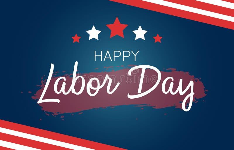 Cartão do Dia do Trabalhador com bandeira dos E.U. e símbolos americanos - bandeira dos Estados Unidos Rotulação criativa no fund ilustração do vetor