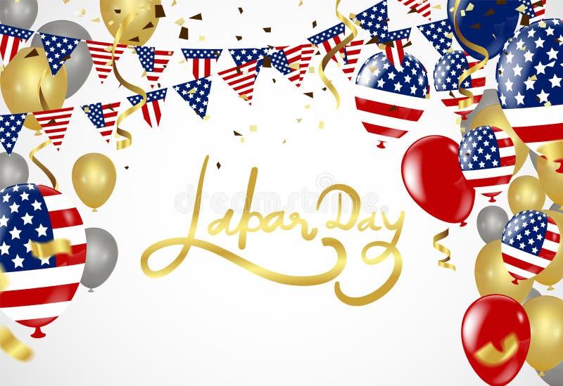 Cartão do Dia do Trabalhador dos EUA com fundo do curso da escova na unidade ilustração royalty free