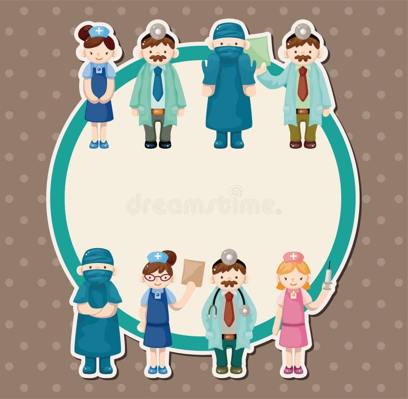 Cartão do doutor e da enfermeira dos desenhos animados ilustração do vetor