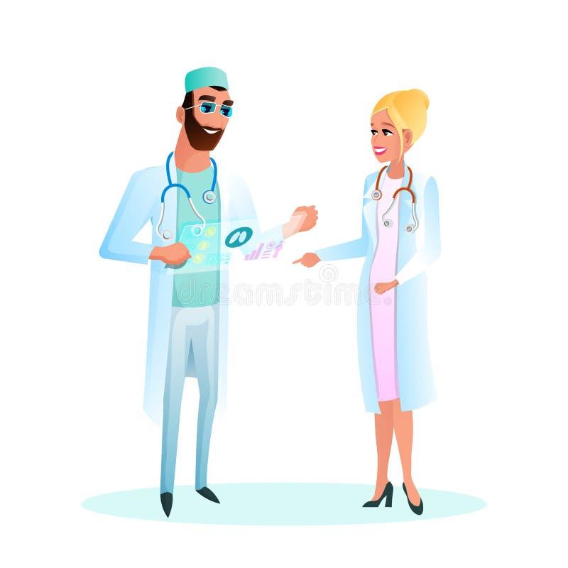 Cartão do doutor Standing Studying Patient da ilustração ilustração royalty free