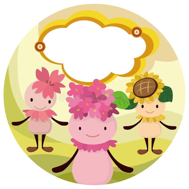 Cartão do duende da flor dos desenhos animados ilustração do vetor